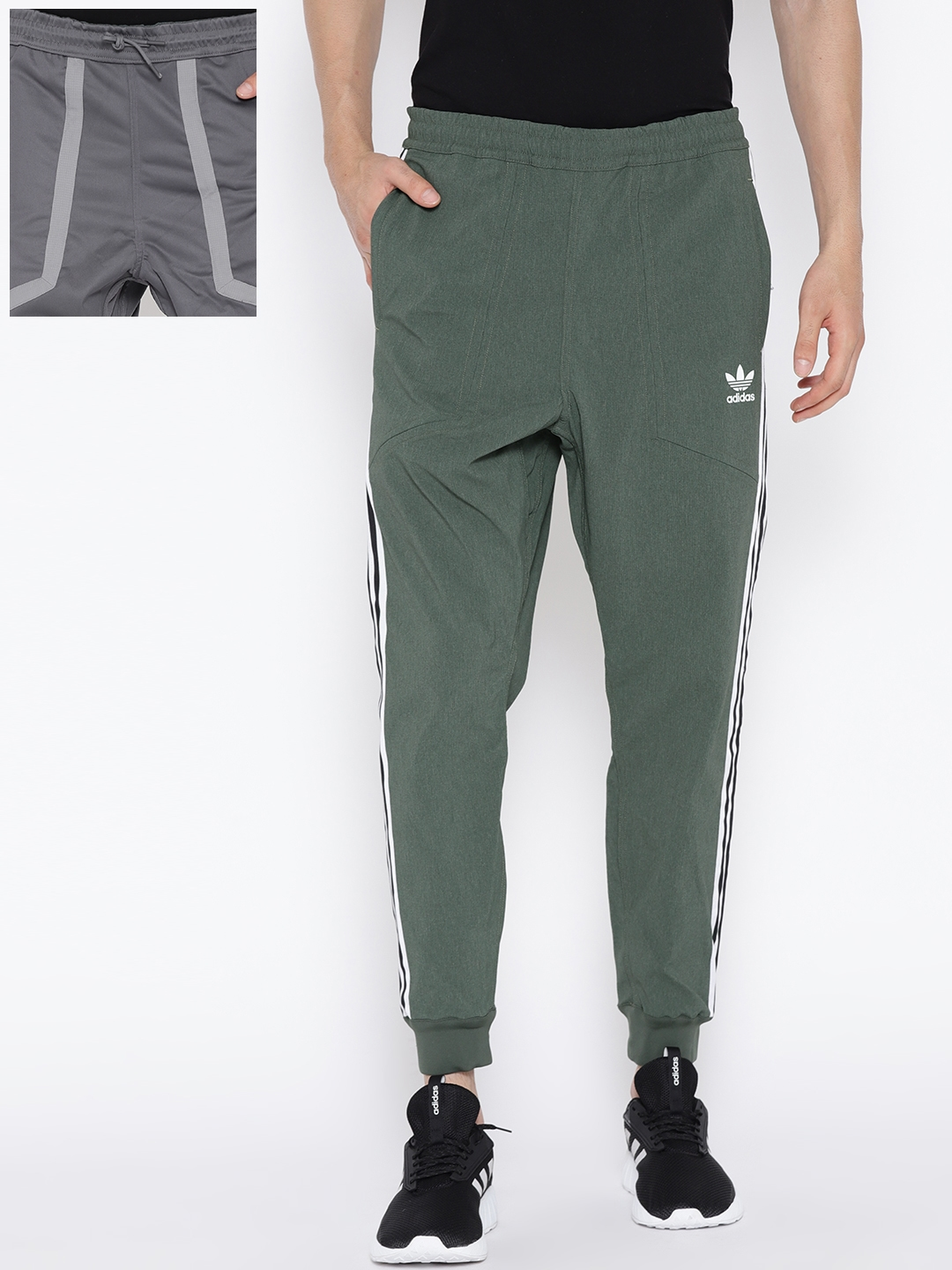 d1f25987b Buy ADIDAS Originals Olive Green & Grey 2020 Reversible Joggers ...