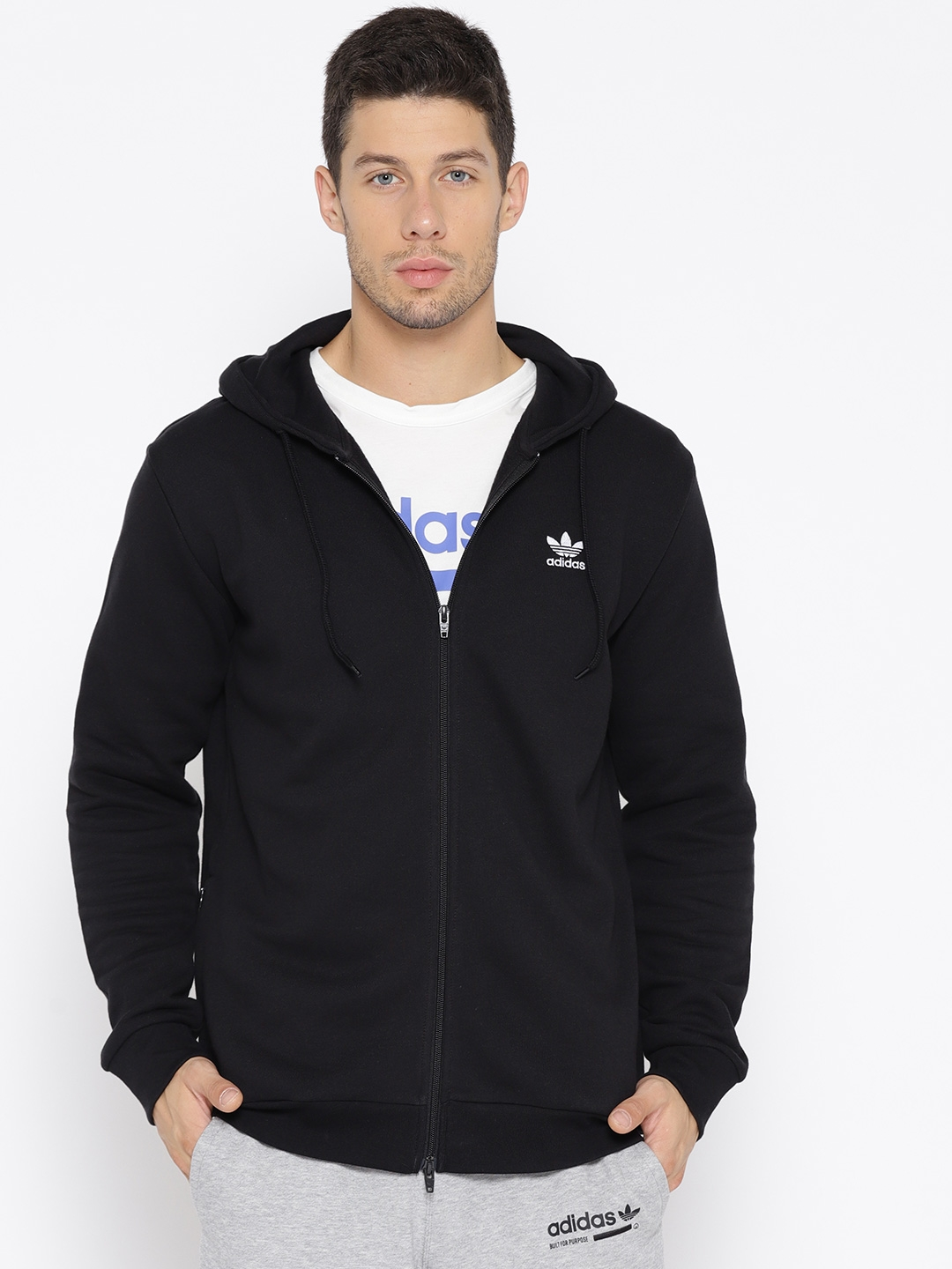 Adidas Originals Men Black Trefoil FZ Hooded Sweatshirt with Printed Back 88216264d