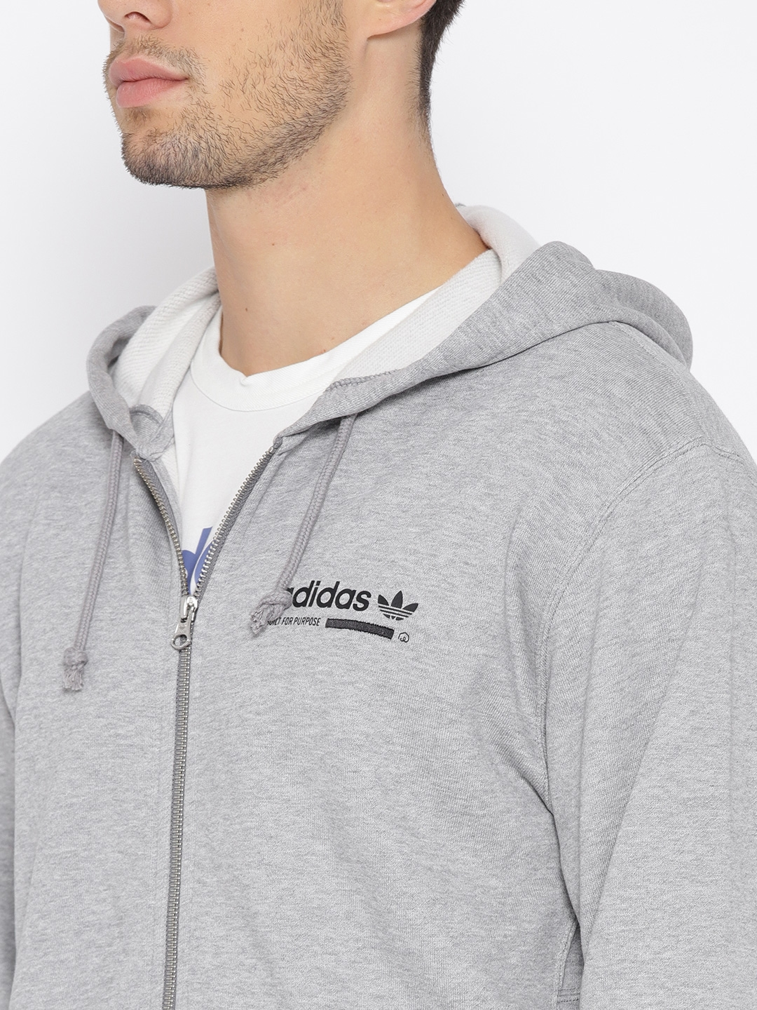 54cae72a78ca Buy ADIDAS Originals Men Grey Melange Kaval FZ Hooded Sweatshirt ...