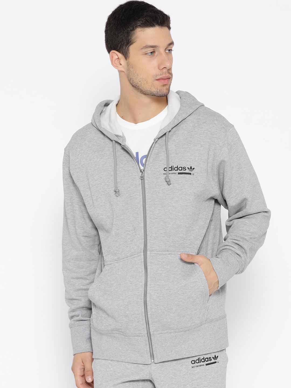 sale retailer 7fded 58c83 ADIDAS Originals Men Grey Melange Kaval FZ Hooded Sweatshirt with Printed  Back