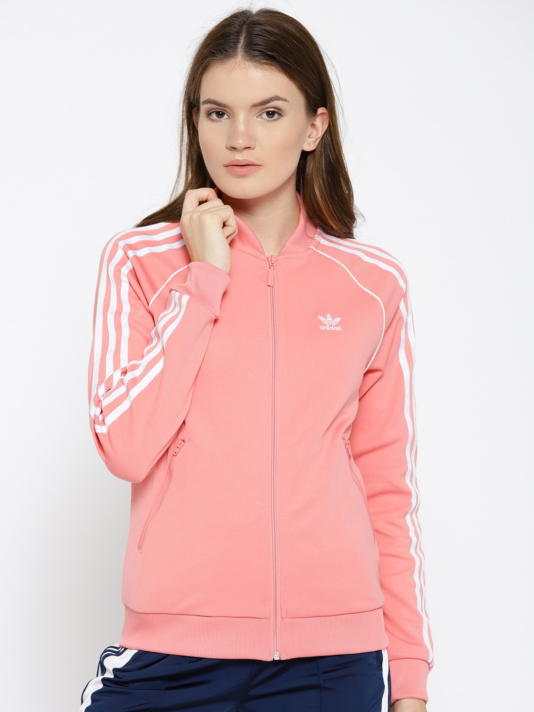 49c6580fad19 Buy ADIDAS Originals Women Pink Solid SST Track Jacket - Jackets for ...