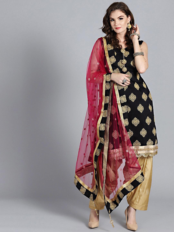 Chhabra 555 Black   Gold Foil Printed Made to Measure Kurta with Patiala    Dupatta 750ae8ded