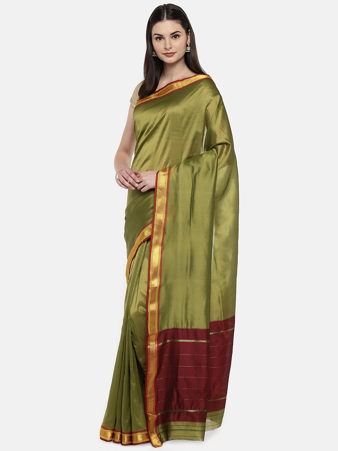 ed7f605da Buy Ishin Green   Maroon Poly Silk Solid Banarasi Saree - Sarees for ...