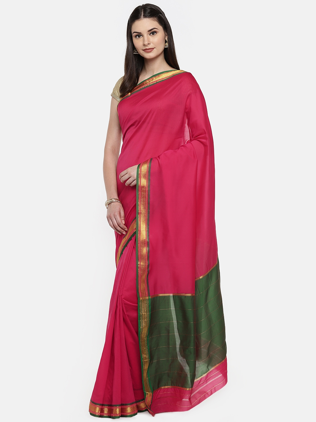64edbd1ed Buy Ishin Pink   Green Poly Silk Woven Design Saree - Sarees for ...
