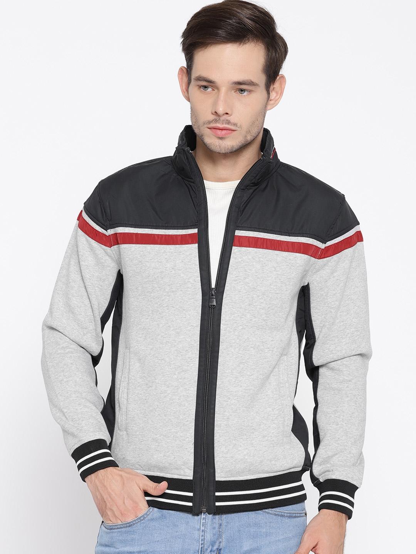 810ae96de48 Buy Octave Men Grey Melange & Navy Colourblocked Sweatshirt ...