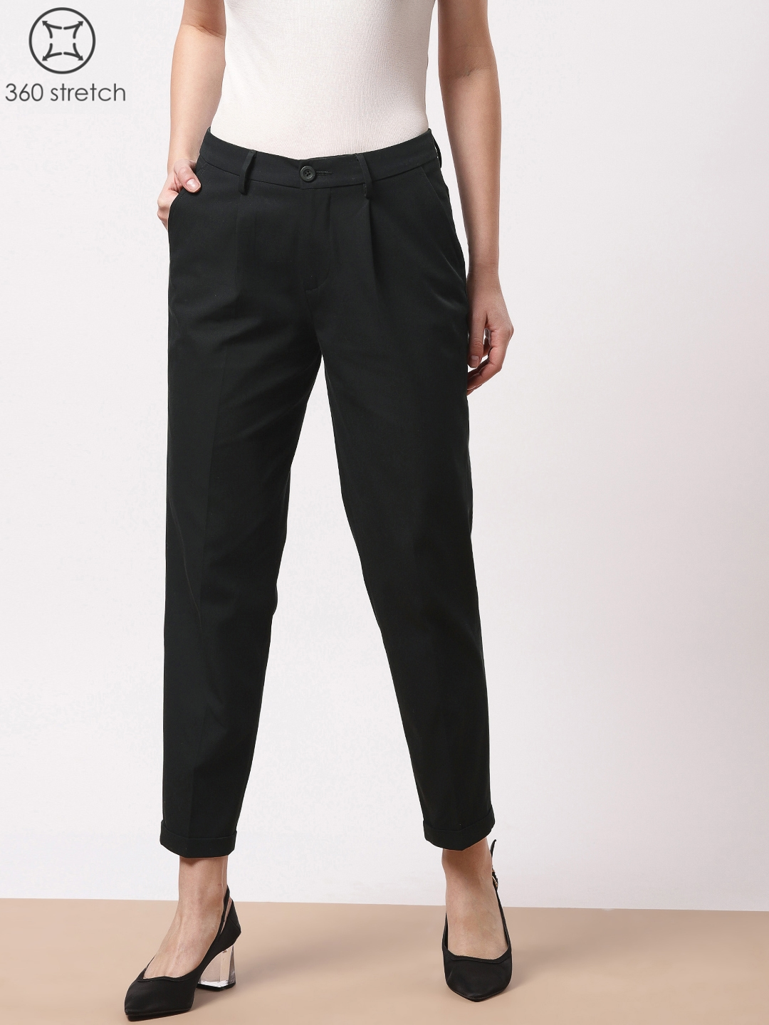 809920de0637 ether Women Black Regular Fit Solid four Way Stretch Smart Casual Trousers