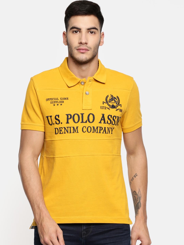 bd3c3df1 Buy U.S. Polo Assn. Denim Co. Men Yellow Self Design Polo Collar T ...