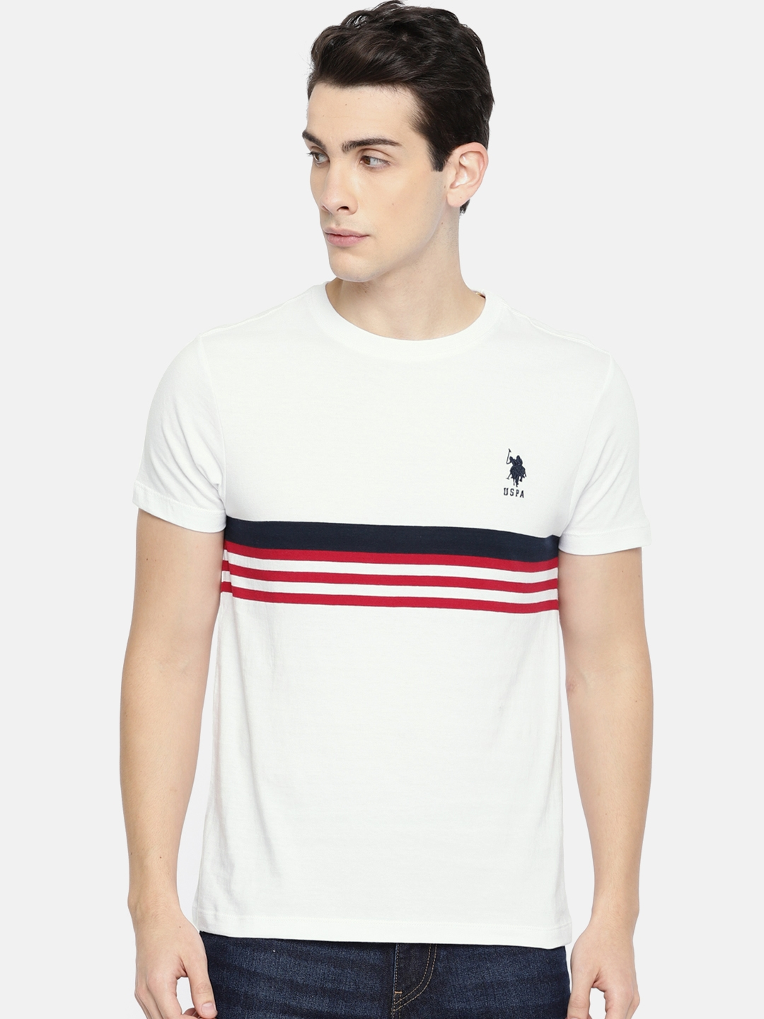 bb6cee662 Buy U.S. Polo Assn. Men White & Red Striped Round Neck T Shirt ...