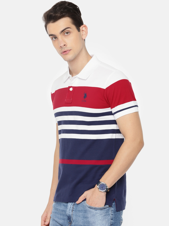 f7e51226 Buy U.S. Polo Assn. Men White & Navy Blue Striped Polo T Shirt ...
