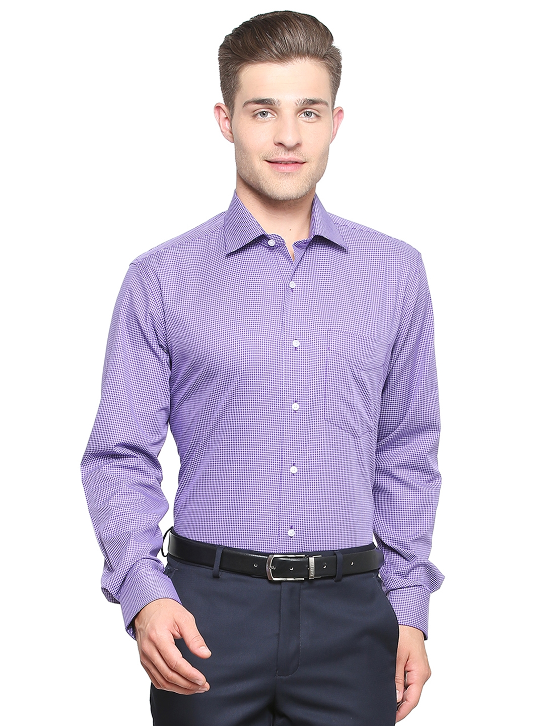 4a46c04350a Buy Van Heusen Men Purple   White Regular Fit Checked Formal Shirt ...