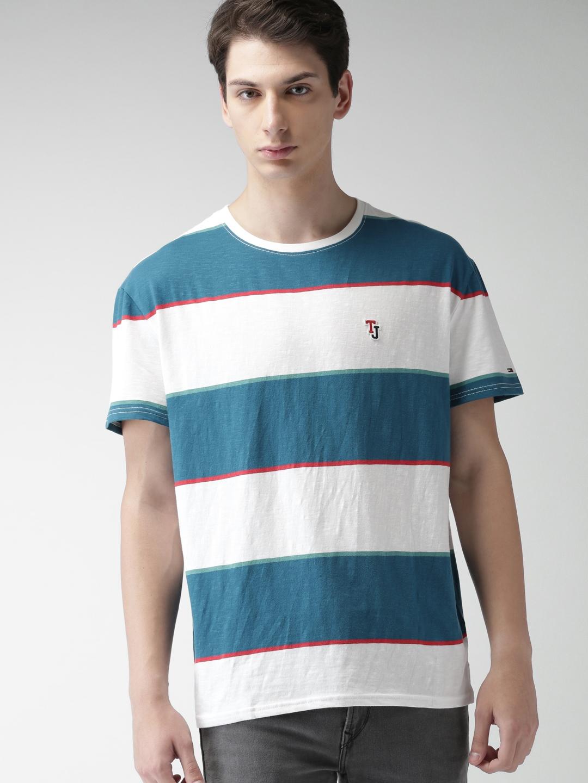 90c64c1f Buy Tommy Hilfiger Men White & Blue Striped Round Neck T Shirt ...