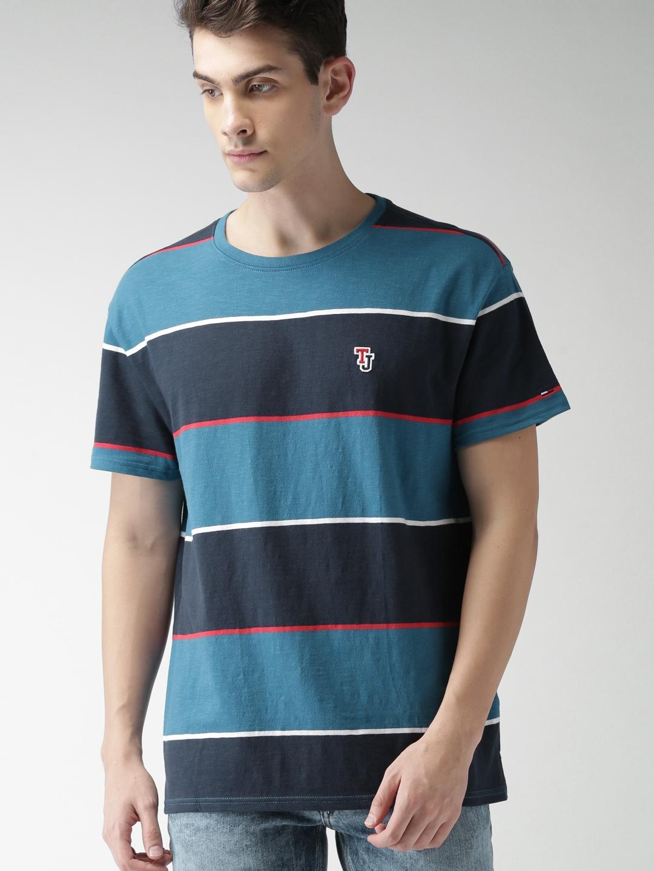 0d174bbd Buy Tommy Hilfiger Men Navy Blue Striped Round Neck T Shirt ...