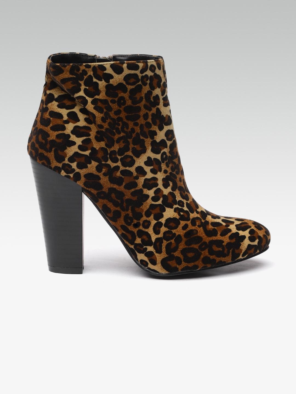 e1547ac4ebf7 Buy Elle Women Brown   Black Animal Print Velvet Heeled Boots ...