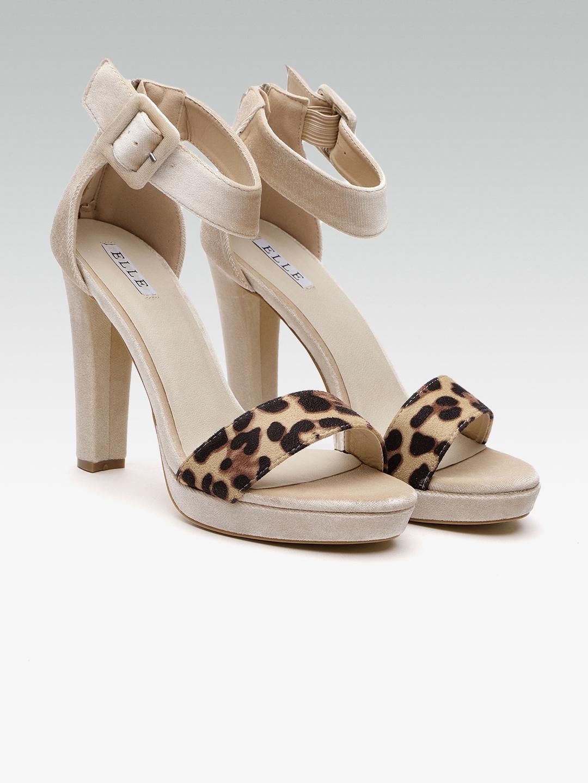 3df2232ca49 Buy Elle Women Beige   Brown Animal Print Velvet Heels - Heels for ...