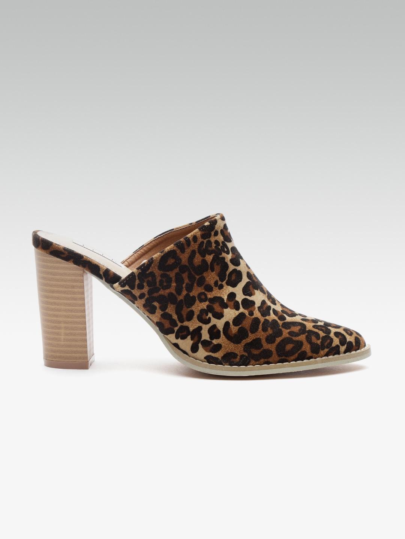 8656c463a04 Buy Elle Women Black   Brown Printed Heeled Mules - Heels for Women ...