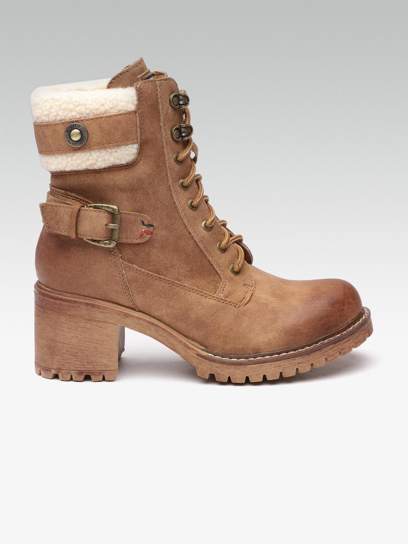 Buy ELLE Women Brown Solid Heeled Boots
