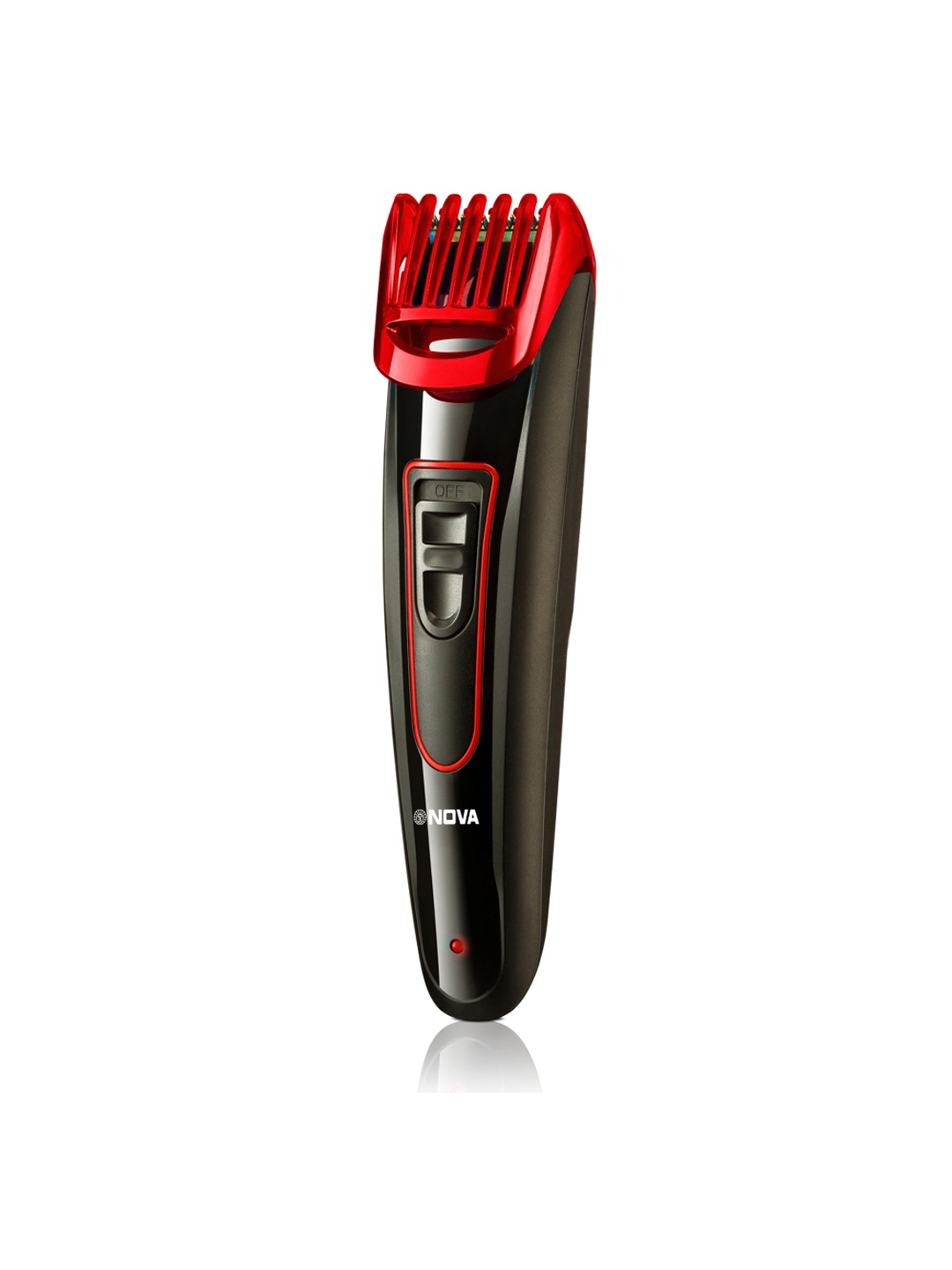 NOVA Men NHT 1072 Fast Charge Titanium Coated USB Cordless Trimmer   Red   Black