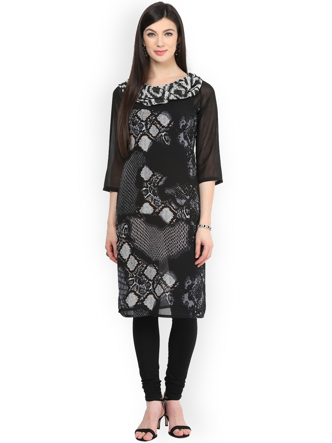 bd4a0d956c55c Buy Pannkh Women Black   White Printed Straight Kurta - Kurtas for ...