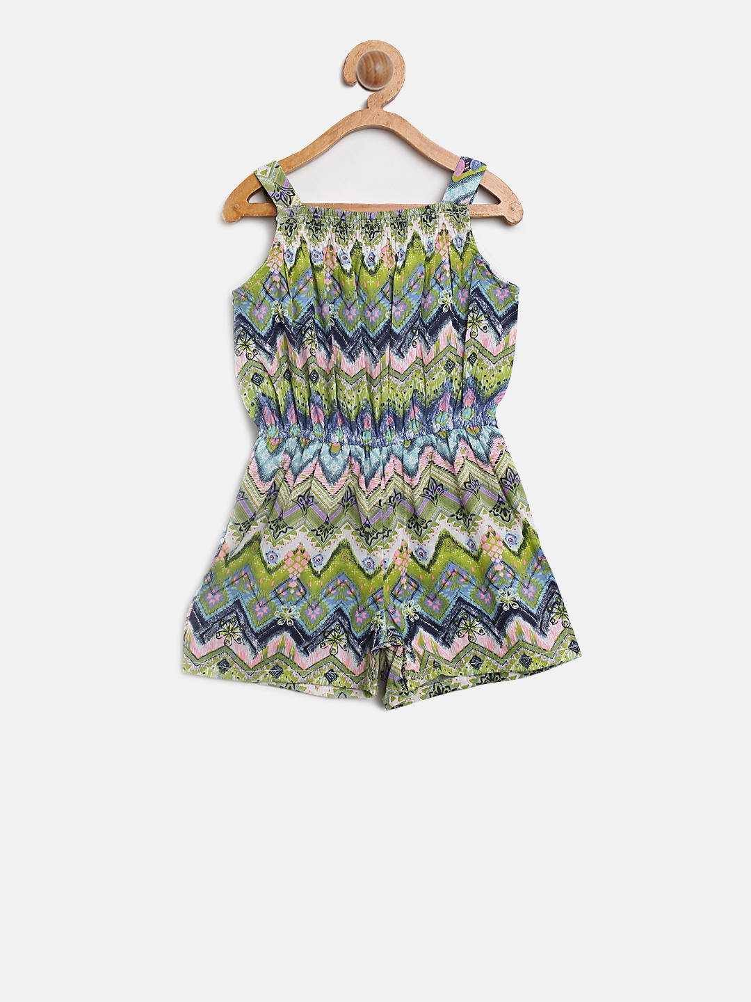 f133464d896 Buy Nauti Nati Girls Green   Blue Printed Playsuit - Jumpsuit for ...