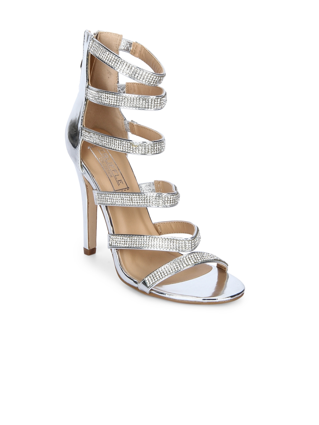 764bcaee864d Buy Truffle Collection Women Silver Toned Solid Sandals - Heels for ...