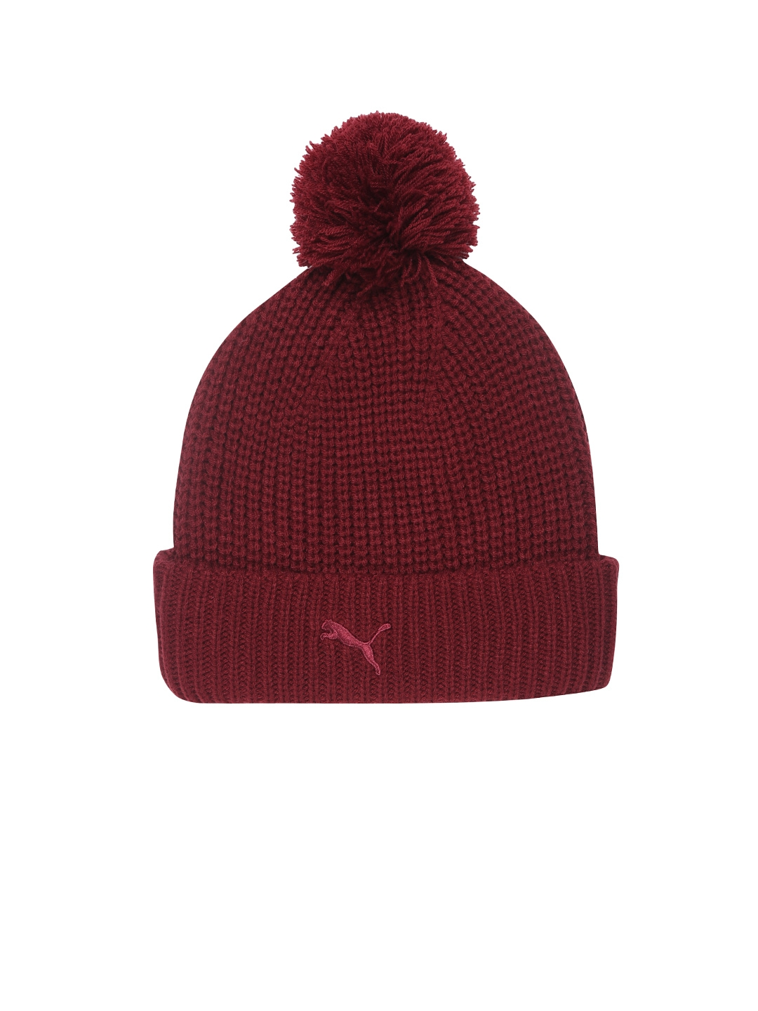 Buy Puma Women Maroon Solid SF LS Pom Pom Beanie - Caps for Women ... a9825cbbcc9
