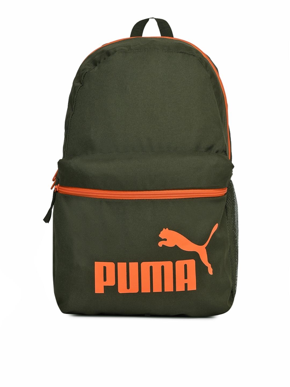 Puma Unisex Olive   Orange Phase Laptop Backpack
