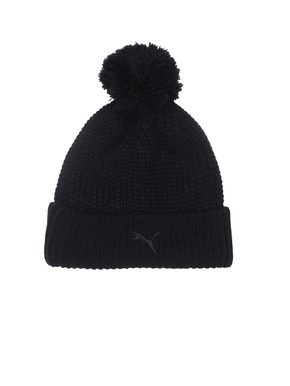 Buy Puma Women Black Solid SF LS Pom Pom Beanie - Caps for Women ... 9239ee3db