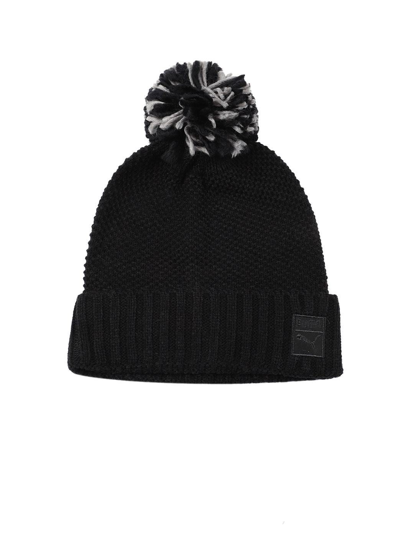 0920ceb9e10 Buy Puma Women Black Self Design ARCHIVE Pom Beanie - Caps for Women ...