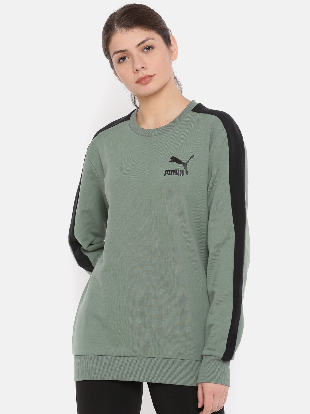 0f074413ce37 Buy Puma Women Green   Black Solid Sweatshirt - Sweatshirts for ...
