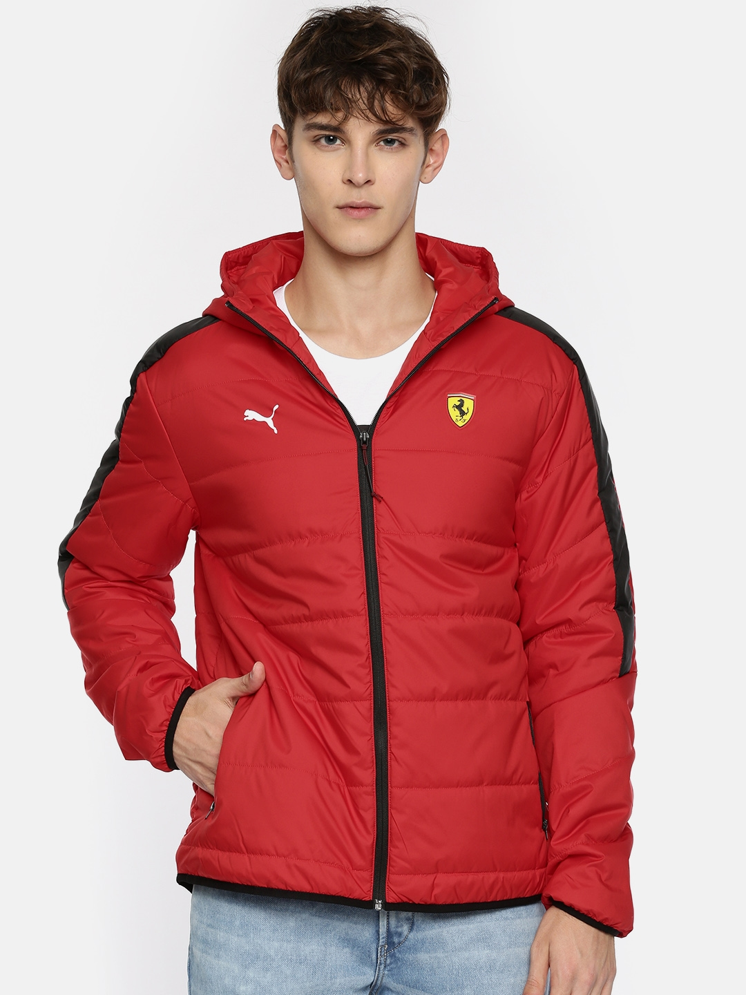 a721822f47729 Buy Puma Men Red Solid SF T7 LW Padded Jacket - Jackets for Men ...