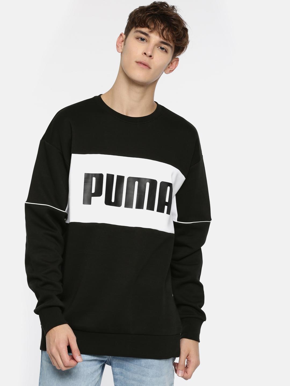 daaae604e7 Buy Puma Men Black & White Retro Crew Dk Printed Sweatshirt ...