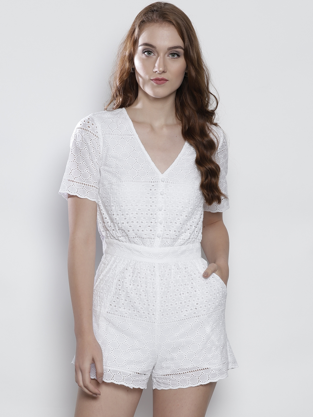 b96cf5f967b Buy DOROTHY PERKINS White Schiffli Embroidered Playsuit - Jumpsuit ...