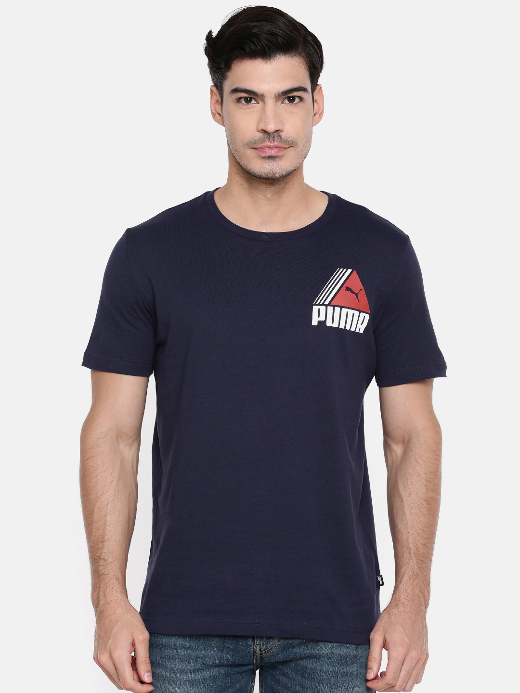 5e8dc496126 Buy Puma Men Navy Printed Round Neck TRI Retro T Shirt - Tshirts for ...