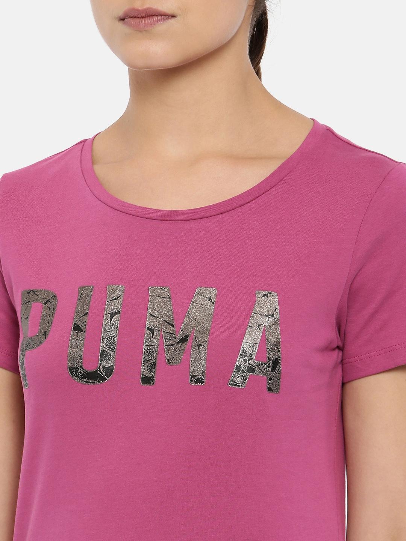43b826e2e68 Buy Puma Women Magenta Printed Regular Fit ATHLETIC T Shirt ...