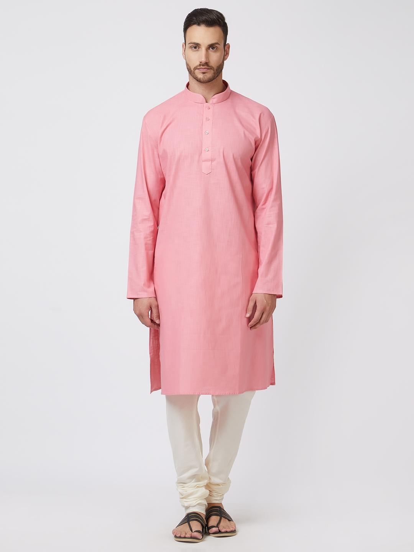de25ff020ad Buy Silk India Men Pink & Off White Solid Kurta With Churidar ...