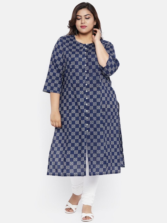 Buy ALL Women Navy Blue   Off White Printed Straight Kurta - Kurtas ... f205b227c
