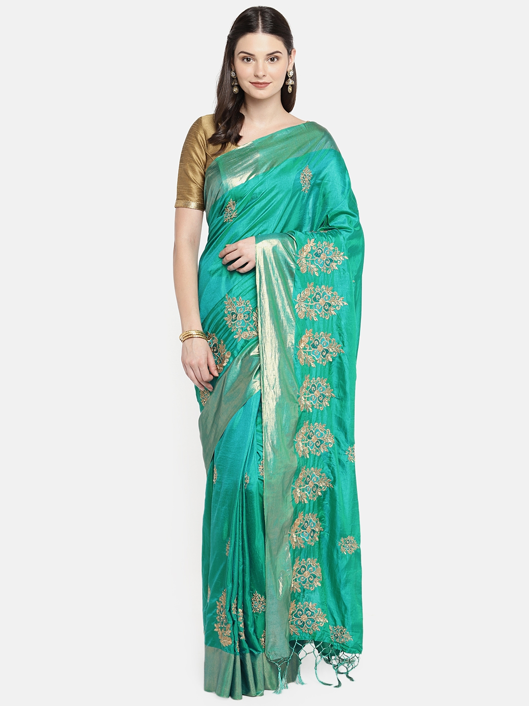 88102d3c33a Buy Rani Saahiba Turquoise Blue Embroidered Art Silk Saree - Sarees ...
