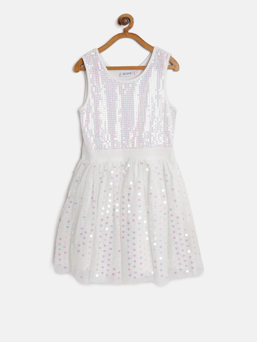 572132f86 Buy The Childrens Place Girls White Sequinned Fit   Flare Dress ...