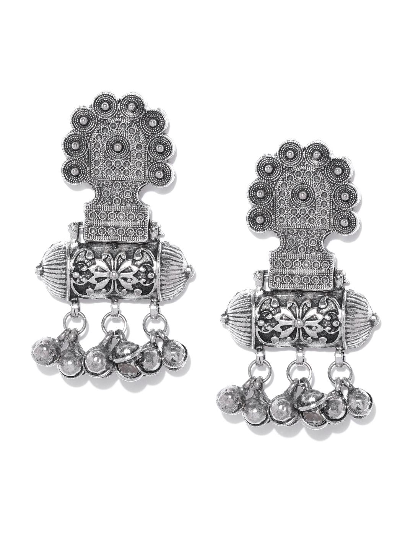 9e0b9ccef Buy Infuzze Oxidised Silver Toned Classic Drop Earrings - Earrings ...