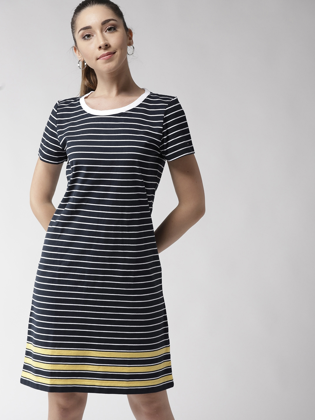daf6fabe6803 Buy Tommy Hilfiger Women Navy Blue   White Striped T Shirt Dress ...