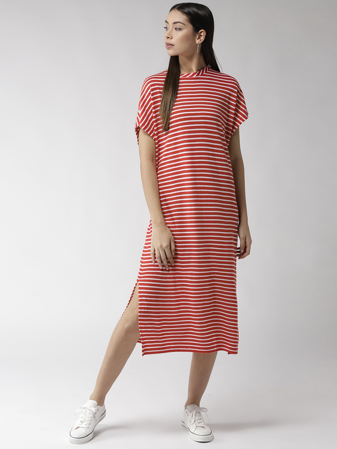 28939ef7c6884 Buy Tommy Hilfiger Women Red & White Striped T Shirt Dress - Dresses ...