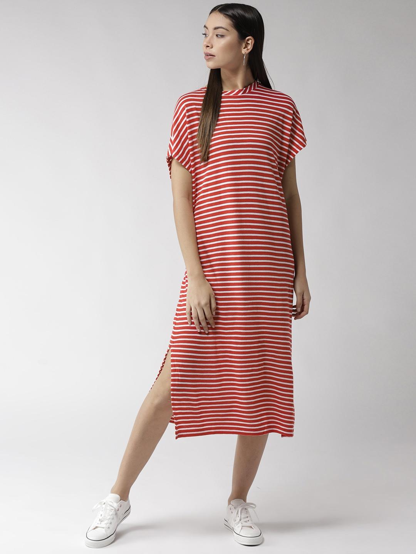 5016b840e47 Buy Tommy Hilfiger Women Red & White Striped T Shirt Dress - Dresses ...