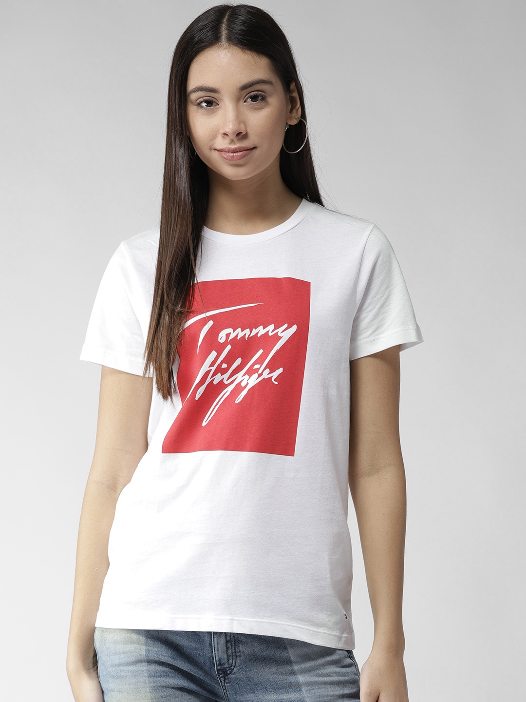 4d96ce98 Buy Tommy Hilfiger Women White & Red Printed Round Neck T Shirt ...