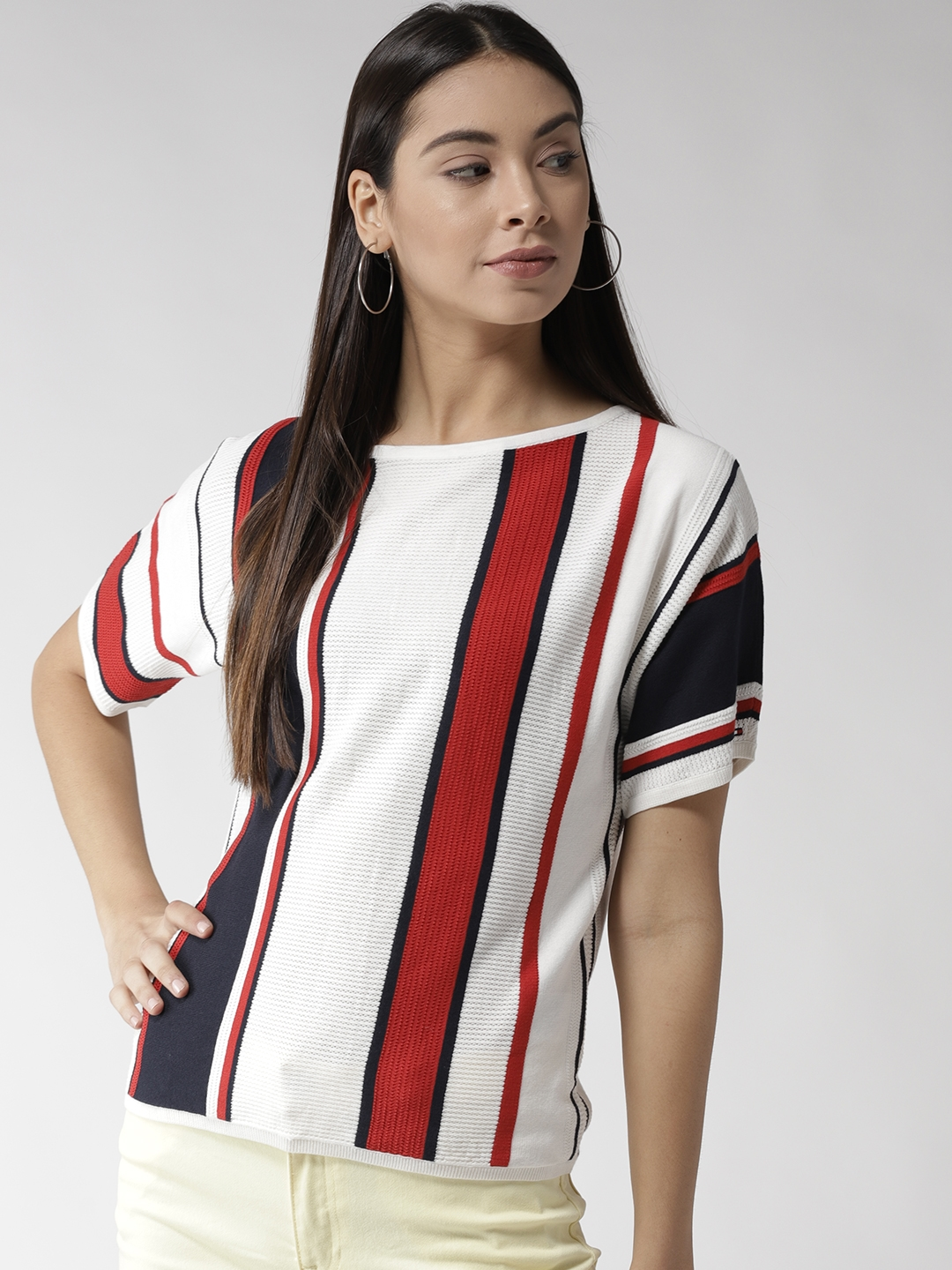 4d8a6a19c3e Buy Tommy Hilfiger Women White   Red Striped Top - Tops for Women ...