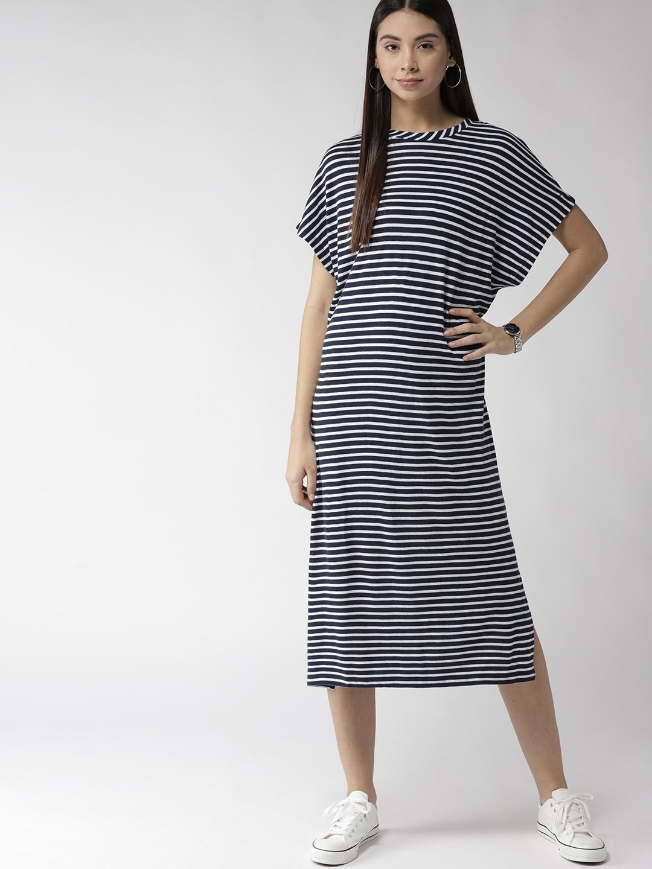 8fd9dfacb5f Buy Tommy Hilfiger Women Navy Blue & White Striped T Shirt Dress ...