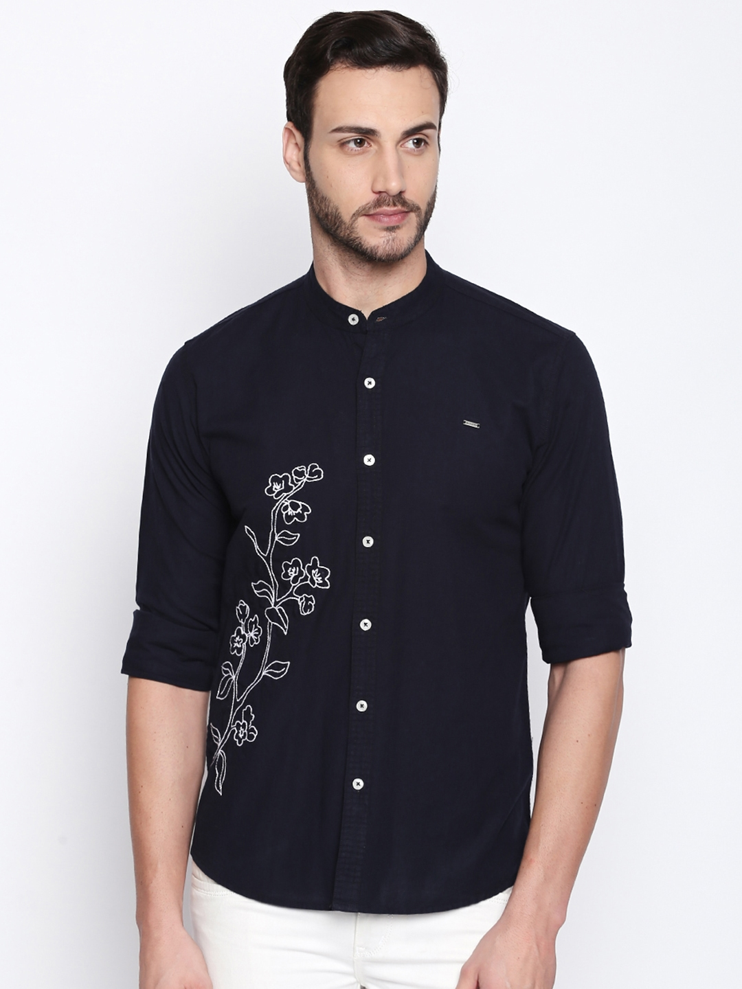 Buy La Seven Men Navy Blue White Slim Fit Printed Casual Shirt