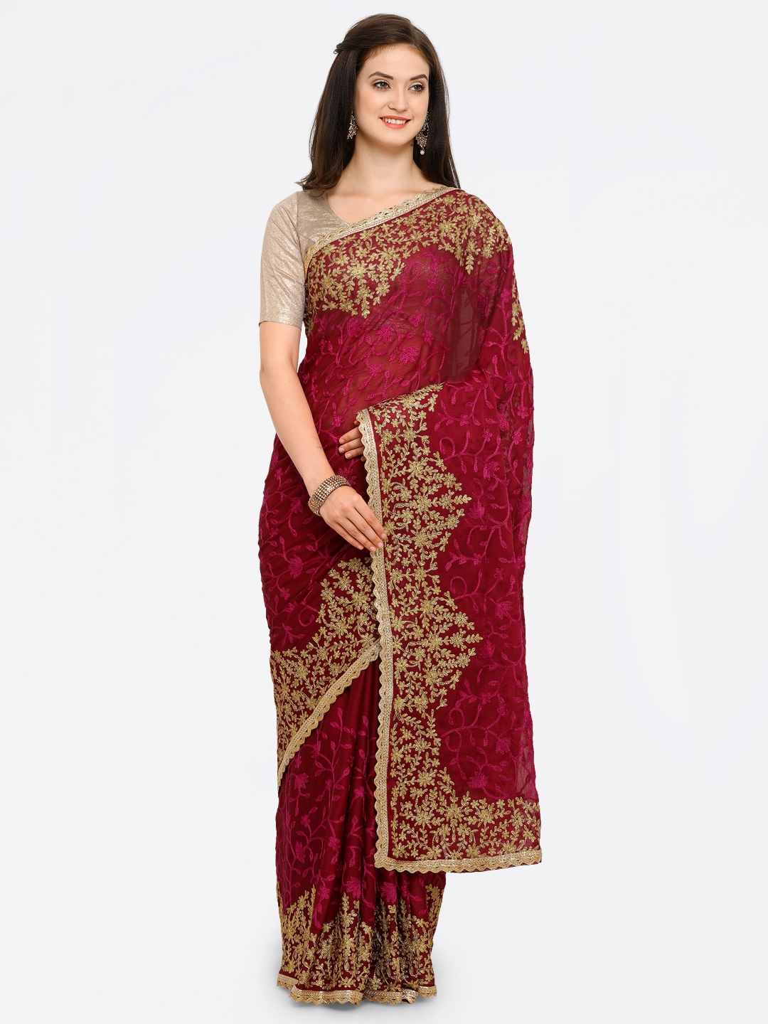 Colors Maroon Embroidered Poly Georgette Saree