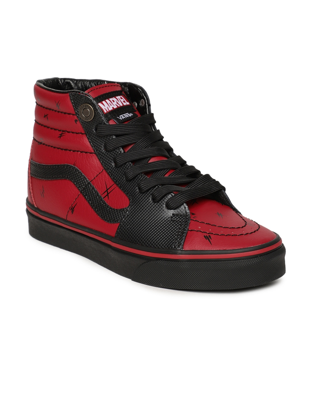 5fb5876c90ff Vans Unisex Maroon   Black Marvel Deadpool Mid-Top Leather Sneakers