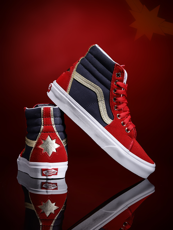 Vans Women Red   Navy Blue Marvel Captain Colourblocked Mid-Top Sneakers 70e047b5e