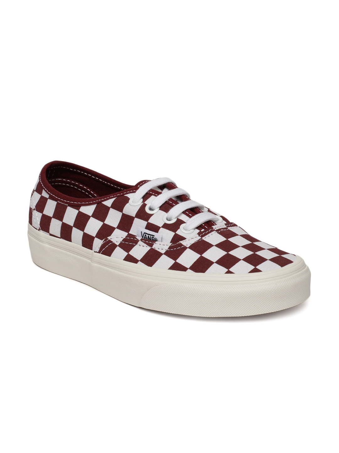 494a090796 Buy Vans Unisex Maroon   White Checked Authentic Sneakers - Casual ...